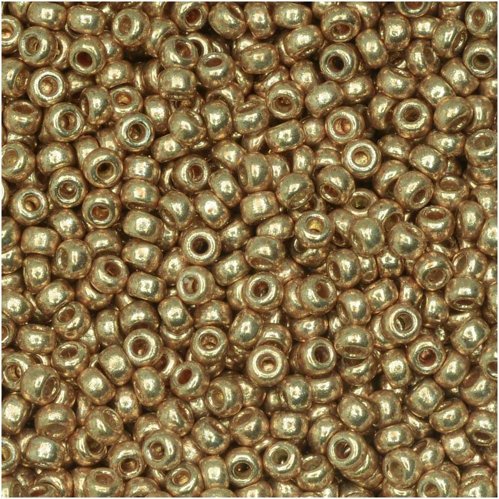 Miyuki Round Seed Beads, 11/0 Size, 8.5 Gram Tube, #4204 Duracoat Galvanized Champagne