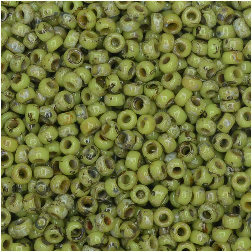 Miyuki Round Seed Beads, 11/0 Size, 8.5 Gram Tube, #4515 Opaque Chartreuse Picasso Matte