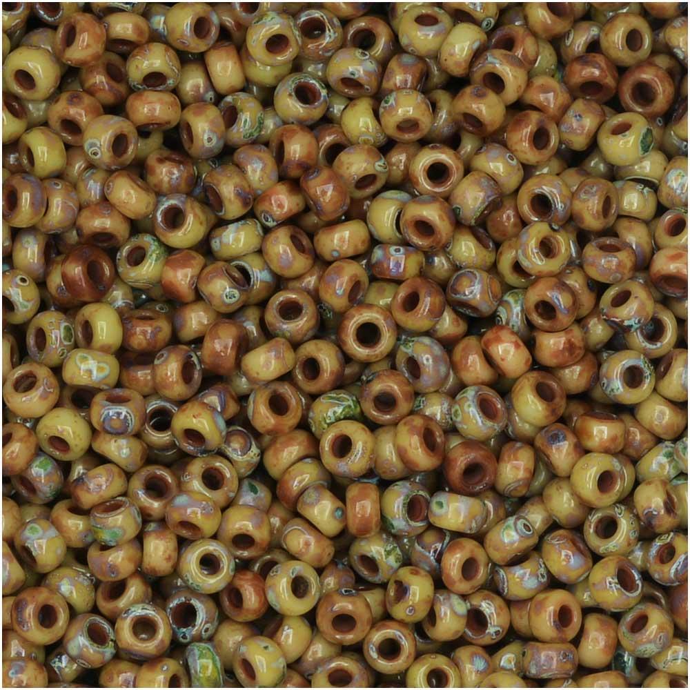 Miyuki Round Seed Beads, 11/0 Size, 8.5 Gram Tube, #4517 Opaque Brown Tan Matte Picasso