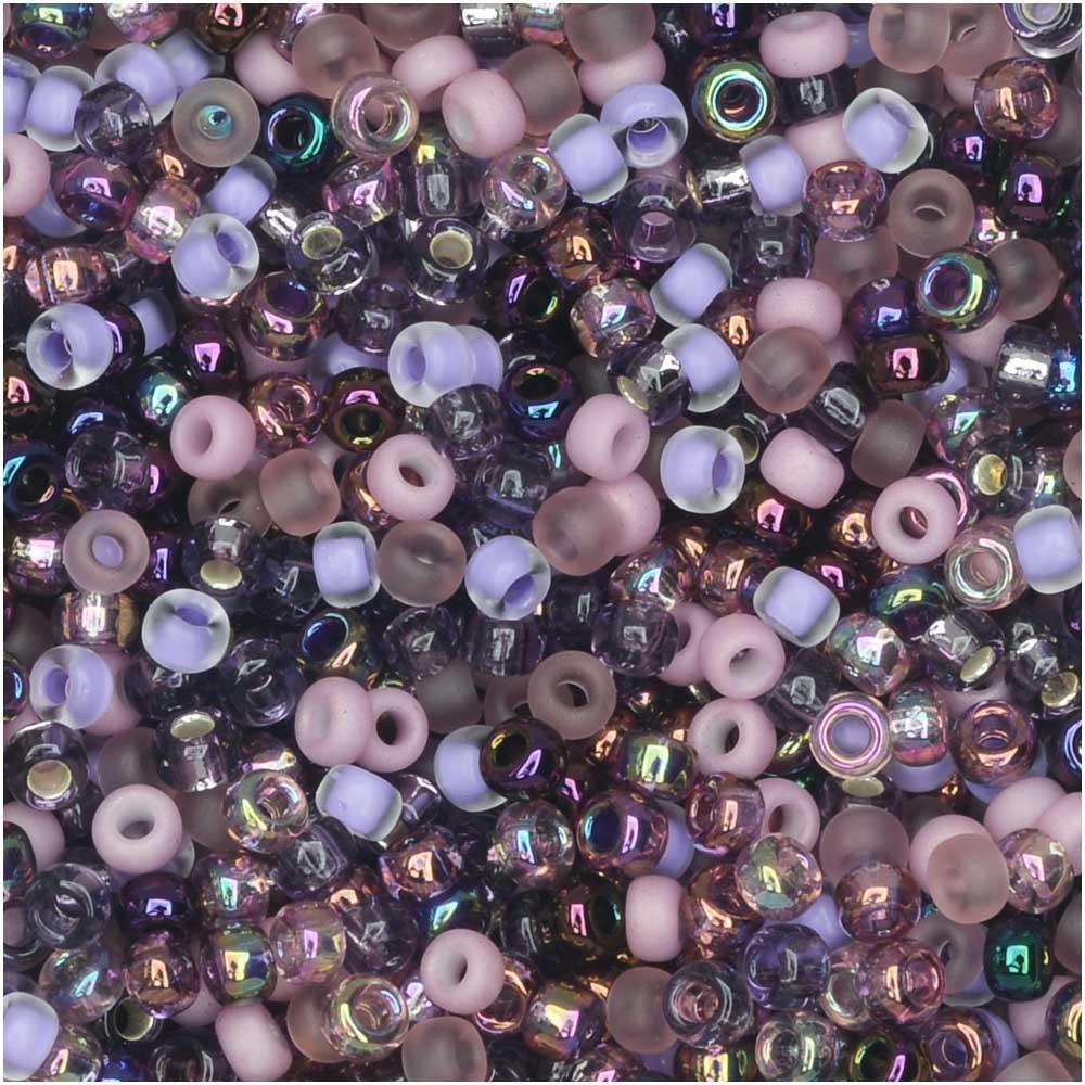 Miyuki Round Seed Beads, 11/0 Size, 8.5 Gram Tube, #MIX01 (Purple) Lilacs Mix