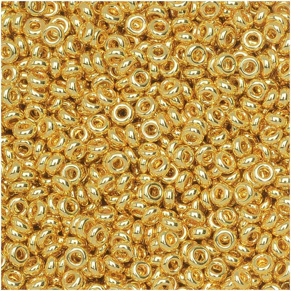 Toho Demi Round Seed Beads, Thin 11/0 (2.2mm) Size, 7.8 Grams, #712 Metallic Gold