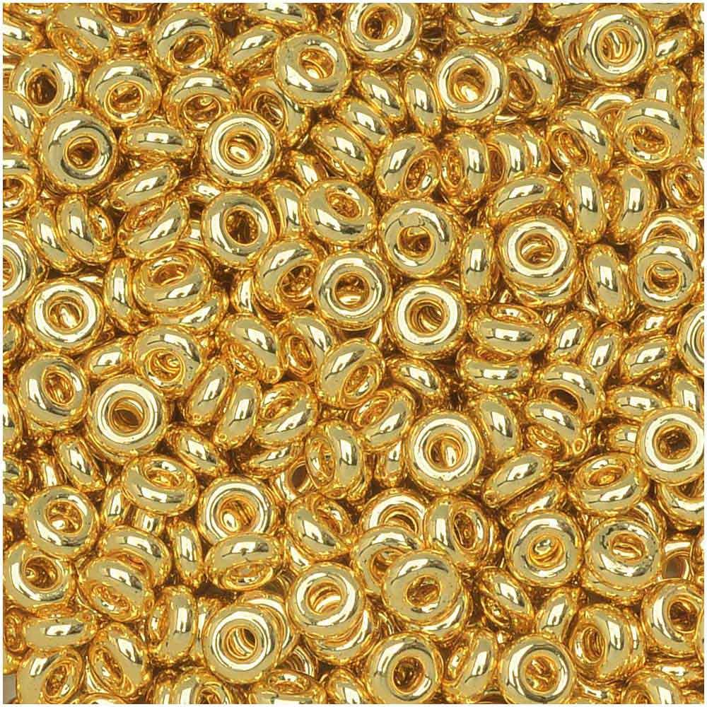 Toho Demi Round Seed Beads, Thin 8/0 (3mm) Size, 7.4 Grams, #712 Metallic Gold