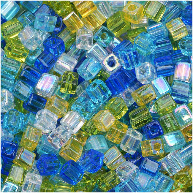 Miyuki 4mm Glass Cube Beads Color Mix Lagoon Blues Yellows 10 Grams