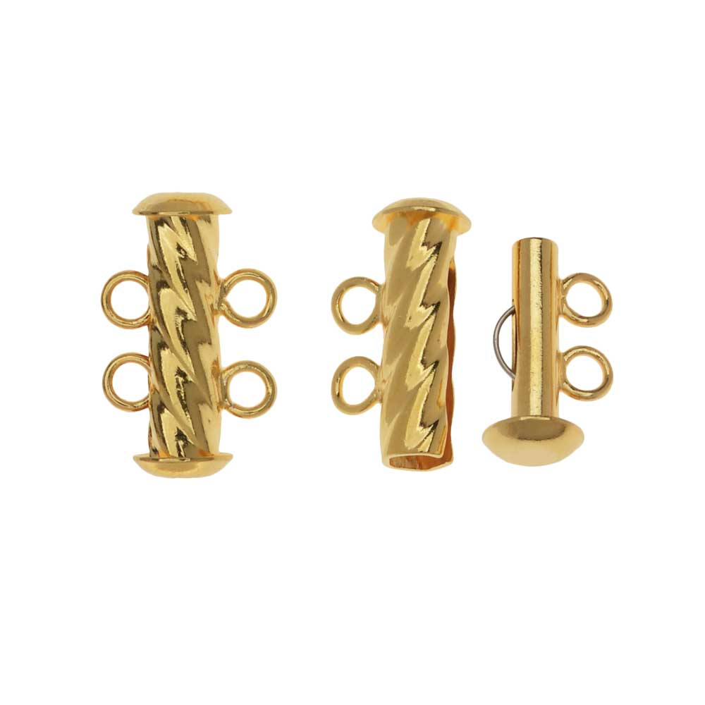 Slide Tube Clasps, 2-Strand Fluted Twist 17 x 4.5mm, 2 Sets, Gold Plated