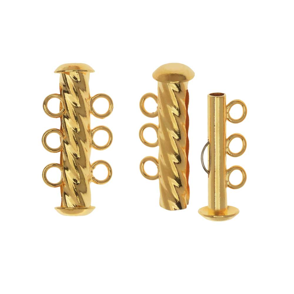 Slide Tube Clasps, 3-Strand Fluted Twist 22 x 4.5mm, 2 Sets, Gold Plated