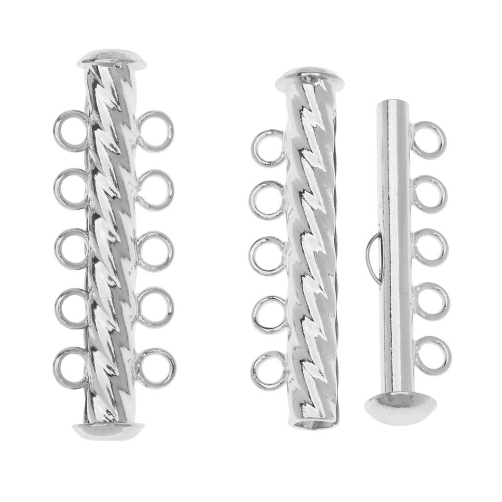 Slide Tube Clasps, 5-Strand Fluted Twist 32 x 4.5mm, 2 Sets, Silver Plated