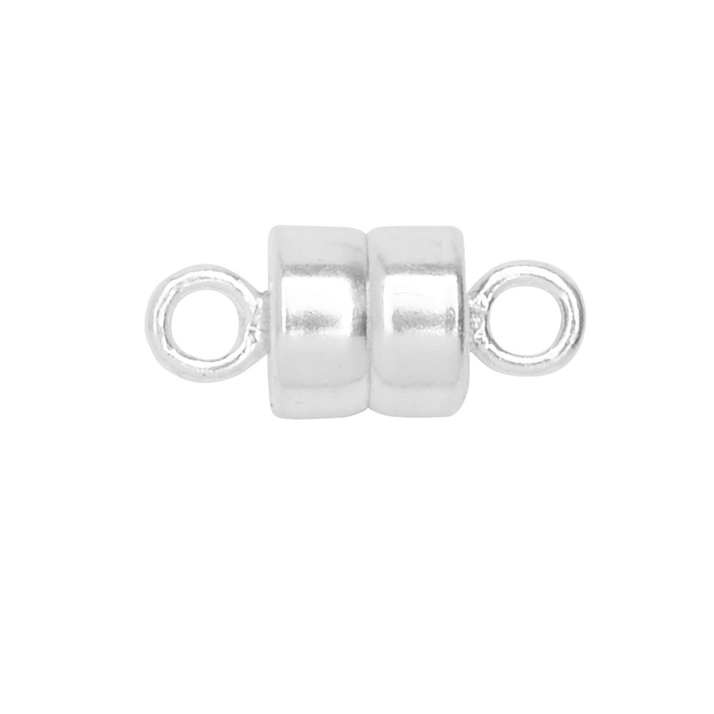 Magnetic Clasps, Round 10x4.5mm, 1 Set, Sterling Silver