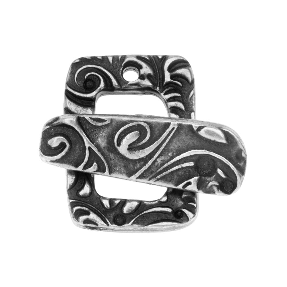 TierraCast Clasp, Jardin Toggle Clasp 20mm, 1 Set, Antiqued Pewter
