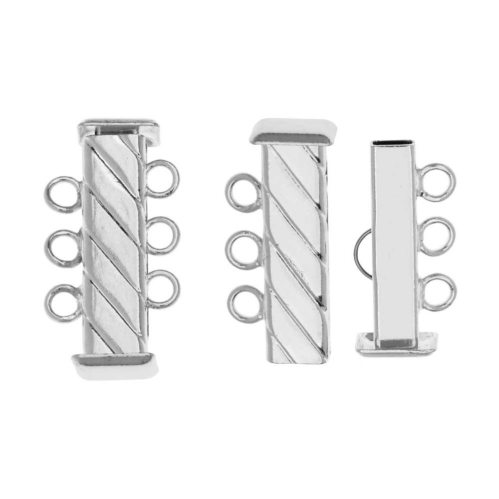 Slide Tube Clasps 3-Strand Fluted Rectangle 21mm Long, 2 Sets, Silver Plated