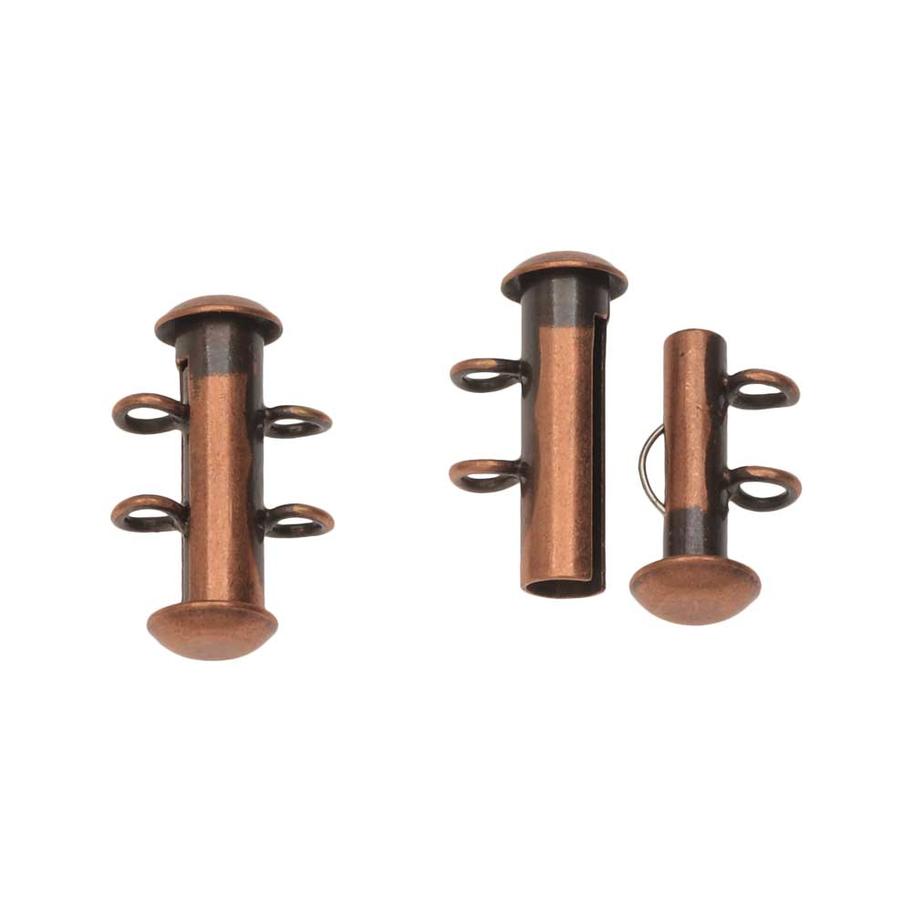 Slide Tube Clasps 2-Strand with Vertical Loops 16.5 x 4mm, 4 Sets, Antiqued Copper Plated