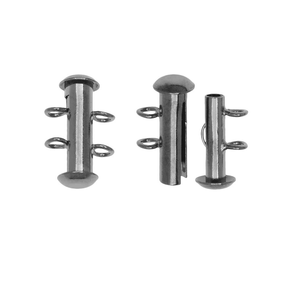 Slide Tube Clasps 2-Strand with Vertical Loops 16.5 x 4mm, 4 Sets, Gunmetal Finish