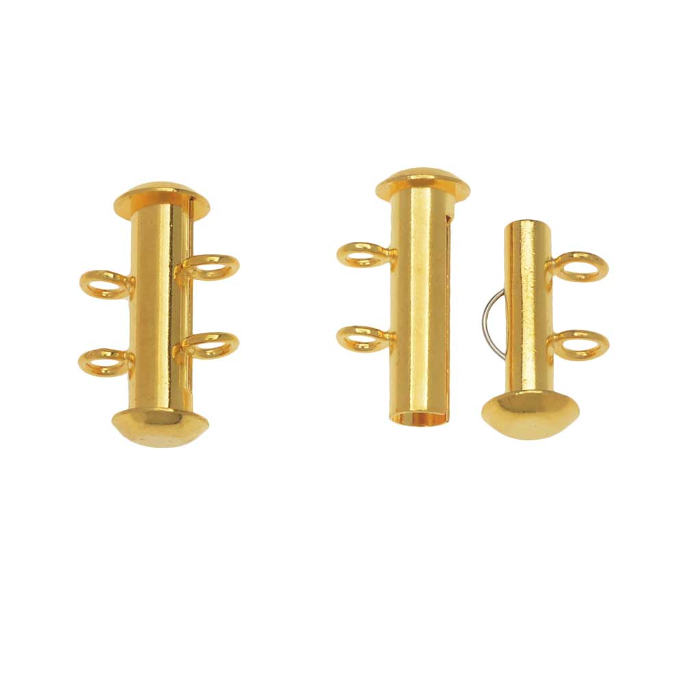 Slide Tube Clasps 2-Strand with Vertical Loops 16.5 x 4mm, 4 Sets, Gold Plated