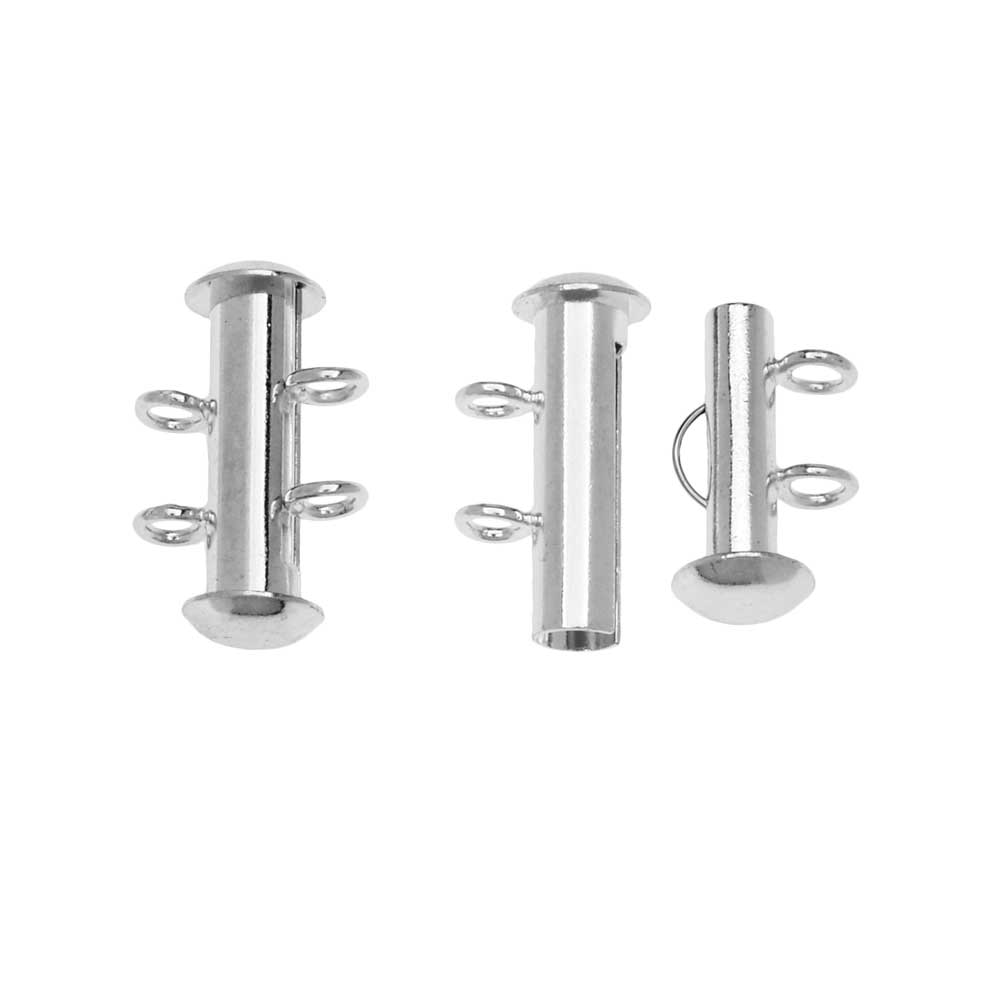 Slide Tube Clasps 2-Strand with Vertical Loops 16.5 x 4mm, 4 Sets, Silver Plated