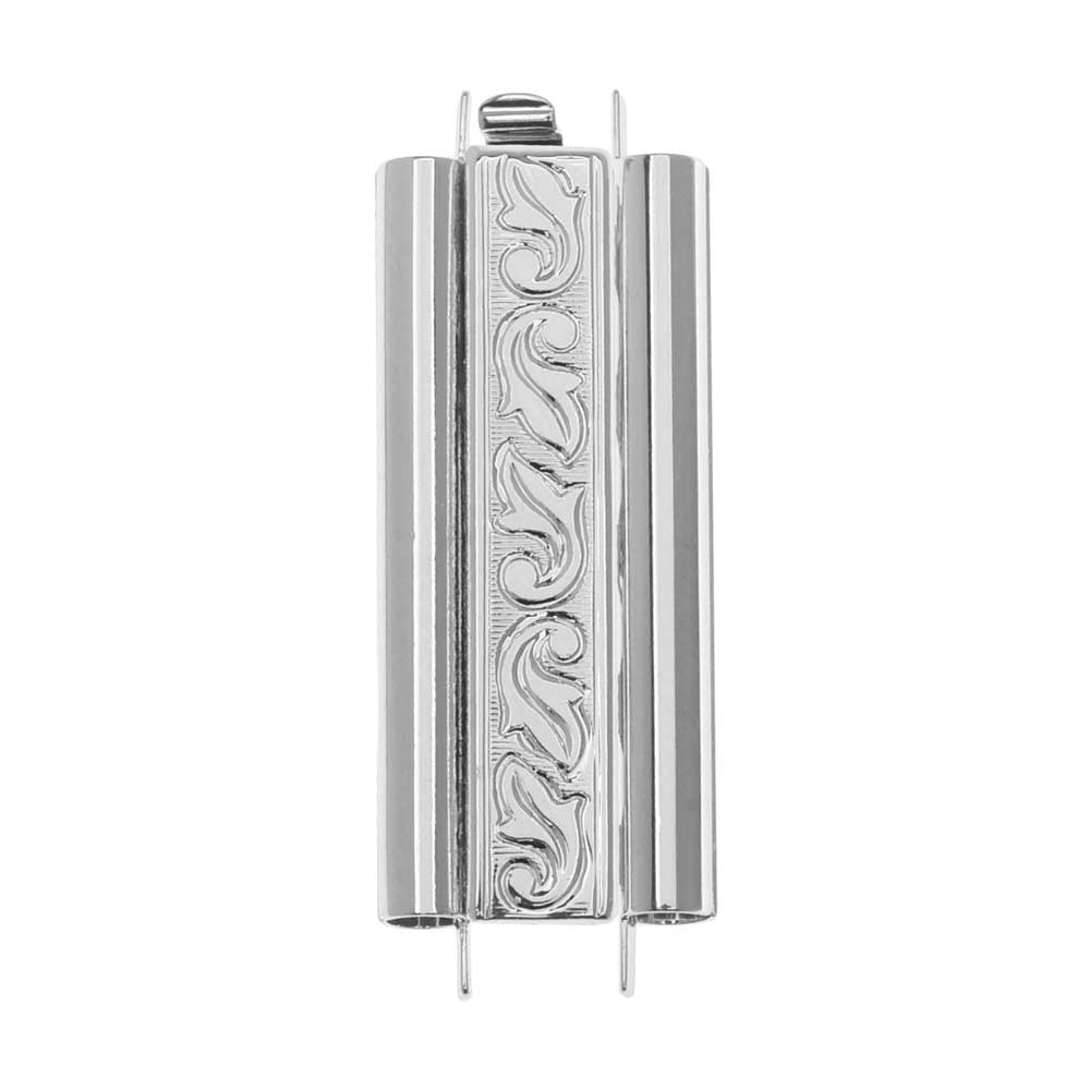 Elegant Elements Beadslides, Seed Bead Slide Tube Clasp Swirling Leaves 29x10mm, Rhodium Plated
