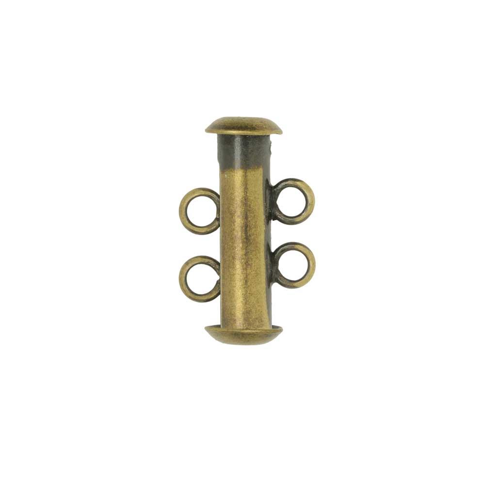 Magnetic Clasp, 2-Strand Slide Tube 17x4mm, 1 Set, Antiqued Gold Plated