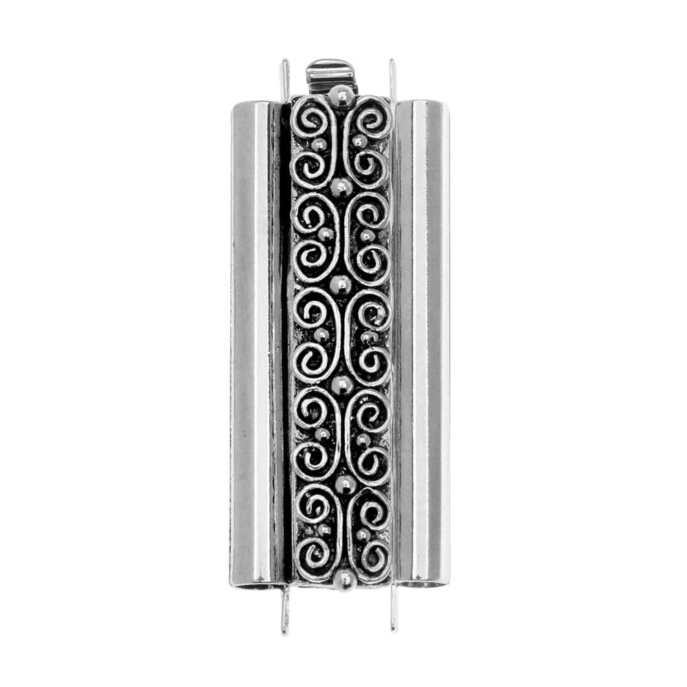 Elegant Elements Beadslides, Seed Bead Slide Tube Clasp w/ Squiggle 29x10mm, 1 Set, Antiqued Silver