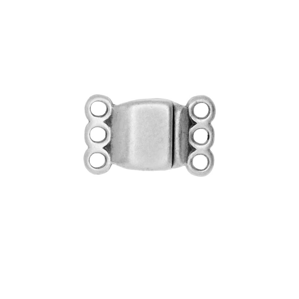 Magnetic Clasp, 3-Strand Rectangle 8x8.5mm, 1 Set, Antiqued Silver Plated