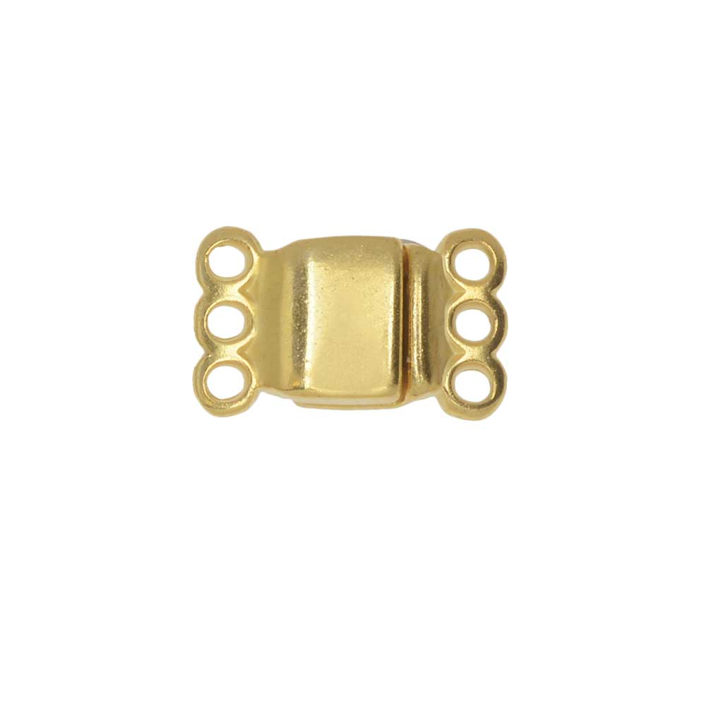 Magnetic Clasp, 3-Strand Rectangle 8x8.5mm, 1 Set, Gold Plated