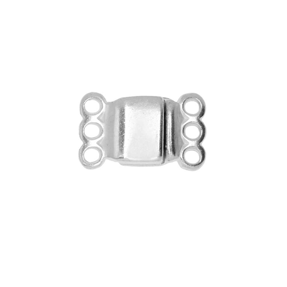Magnetic Clasp, 3-Strand Rectangle 8x8.5mm, 1 Set, Silver Plated