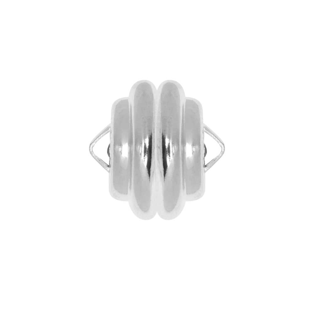 Mag-Lok Magnetic Clasps, Round with Loops 11mm Diameter, 1 Set, Silver Plated