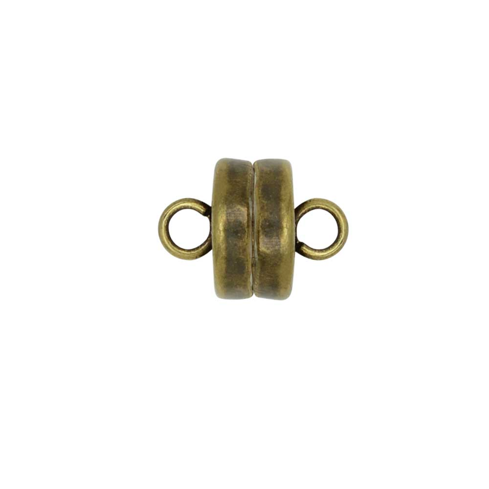 Magnetic Clasps, with Loops 7mm Diameter, 4 Sets, Antiqued Brass Plated