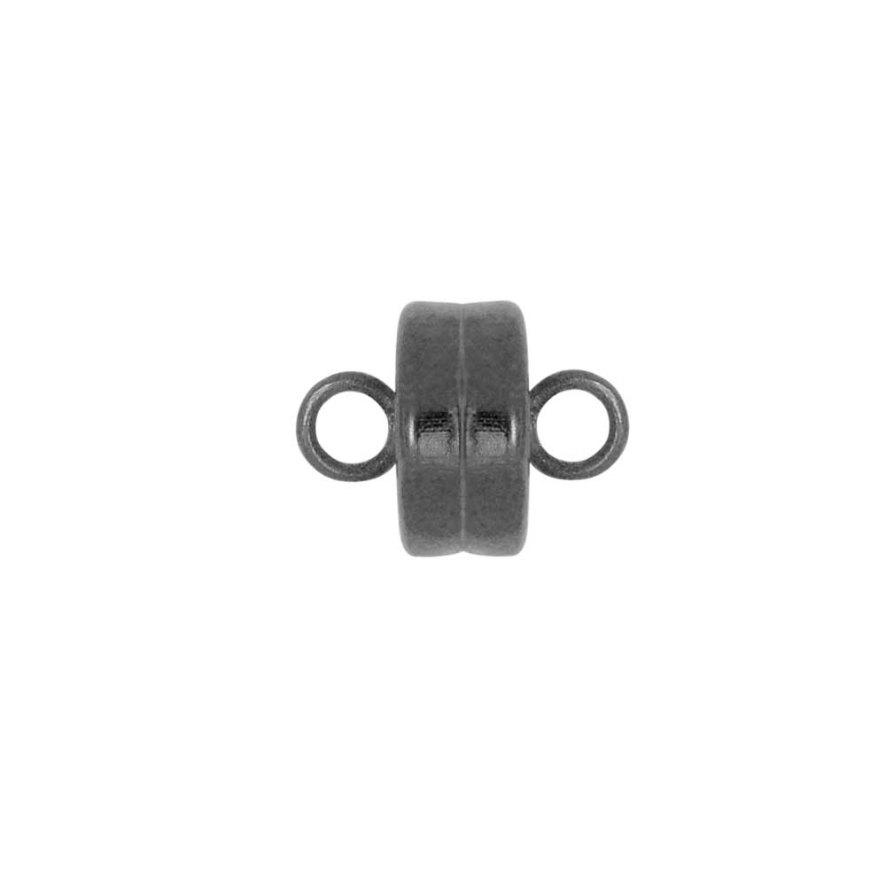 Magnetic Clasps, with Loops 7mm Diameter, 4 Sets, Gunmetal Plated