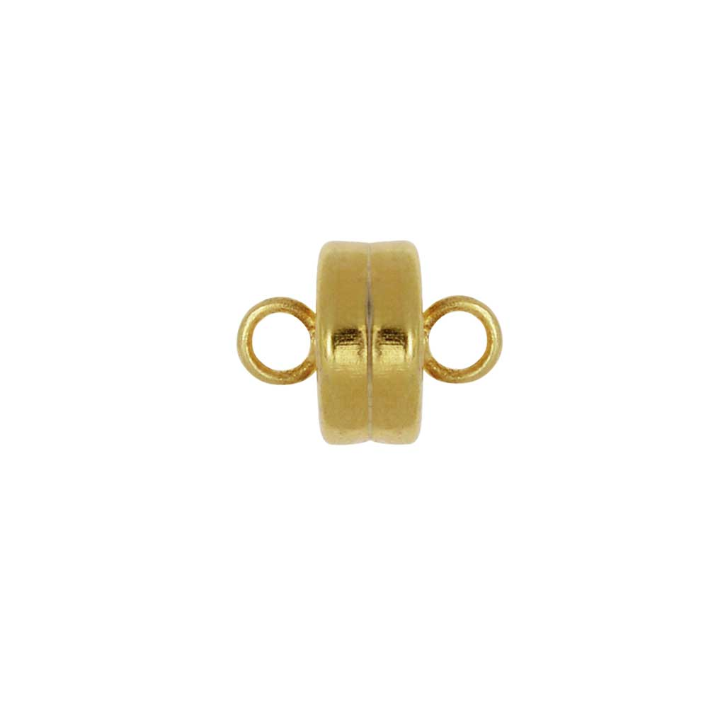 Magnetic Clasps, with Loops 7mm Diameter, 4 Sets, Gold Plated
