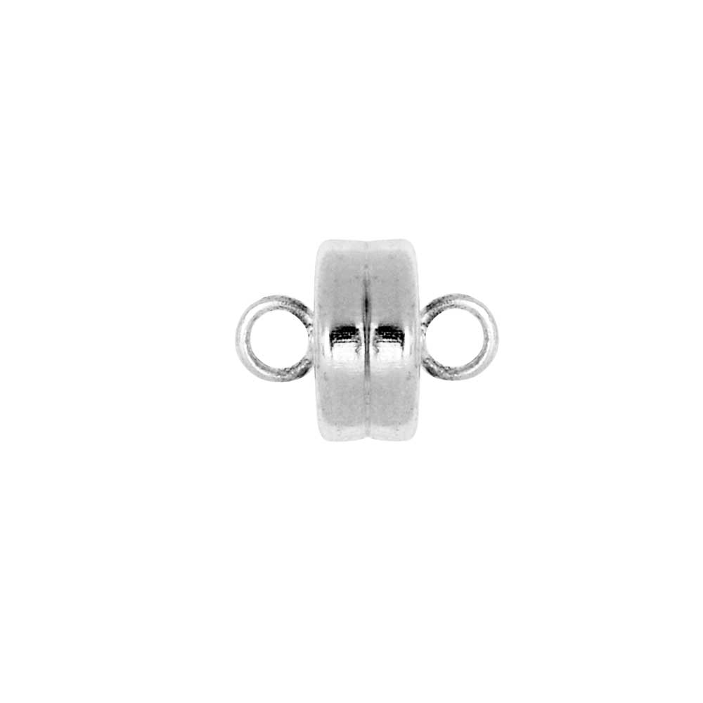 Magnetic Clasps, with Loops 7mm Diameter, 4 Sets, Silver Plated