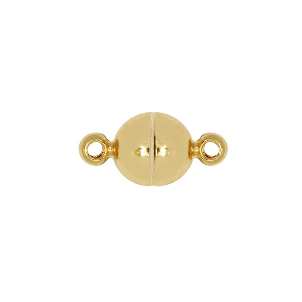 Magnetic Clasp, Smooth Round Ball with Loops 6mm Diameter, 1 Set, Gold Tone Brass