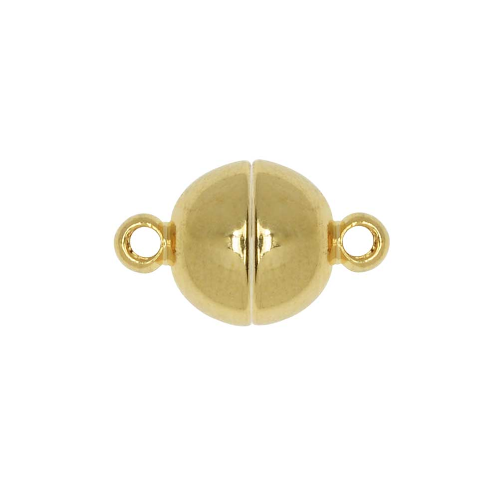 Magnetic Clasp, Smooth Round Ball with Loops 8mm Diameter, 1 Set, Gold Tone Brass