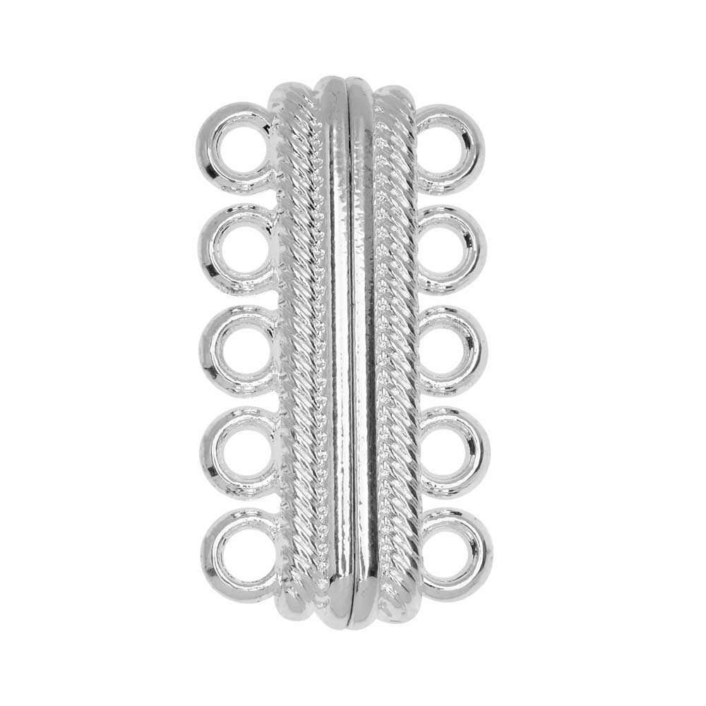 Magnetic Clasp, 5-Strand Bar with Rope Edge 33x8mm, 1 Set, Silver Tone Brass