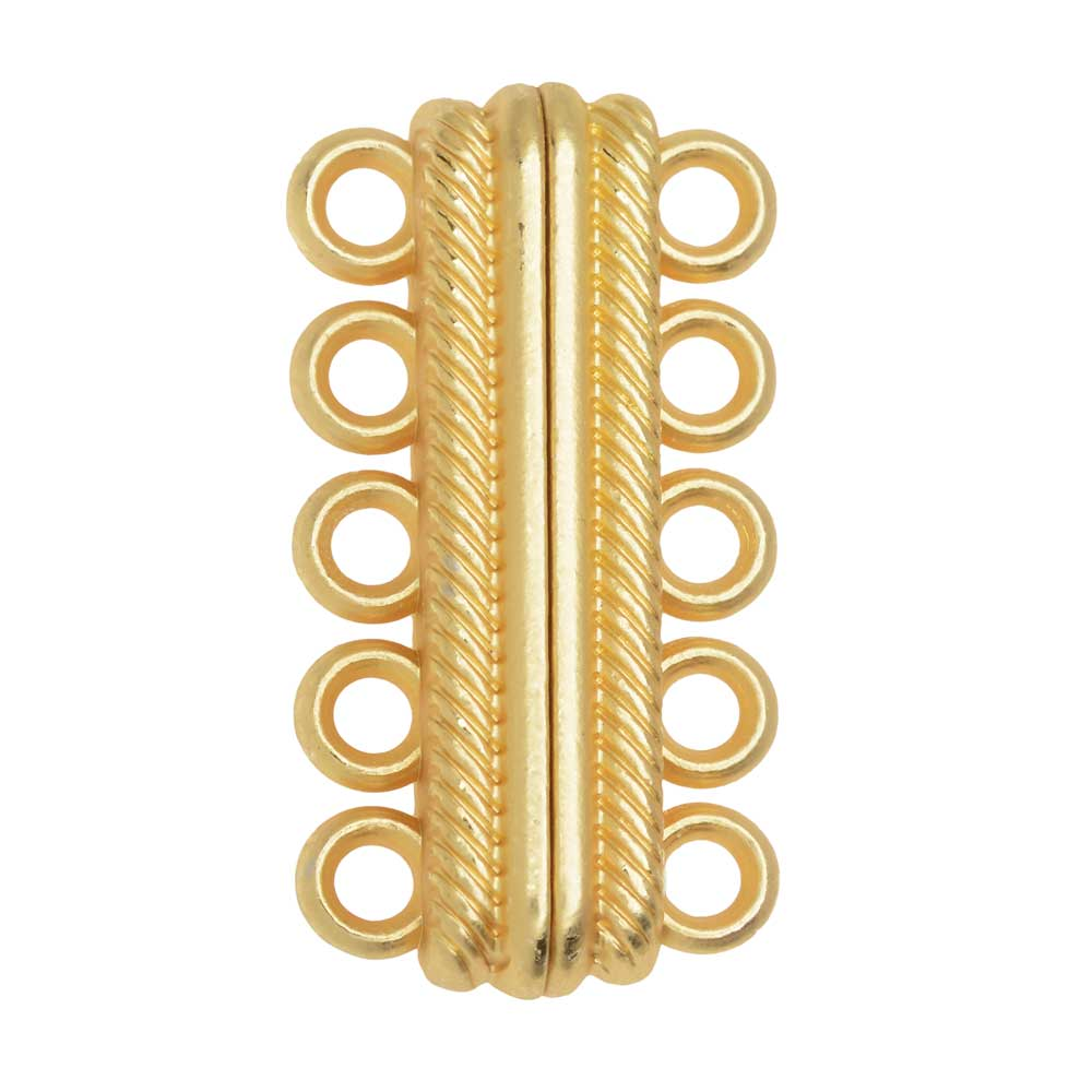 Magnetic Clasp, 5-Strand Bar with Rope Edge 33x8mm, 1 Set, Matte Gold Tone Brass