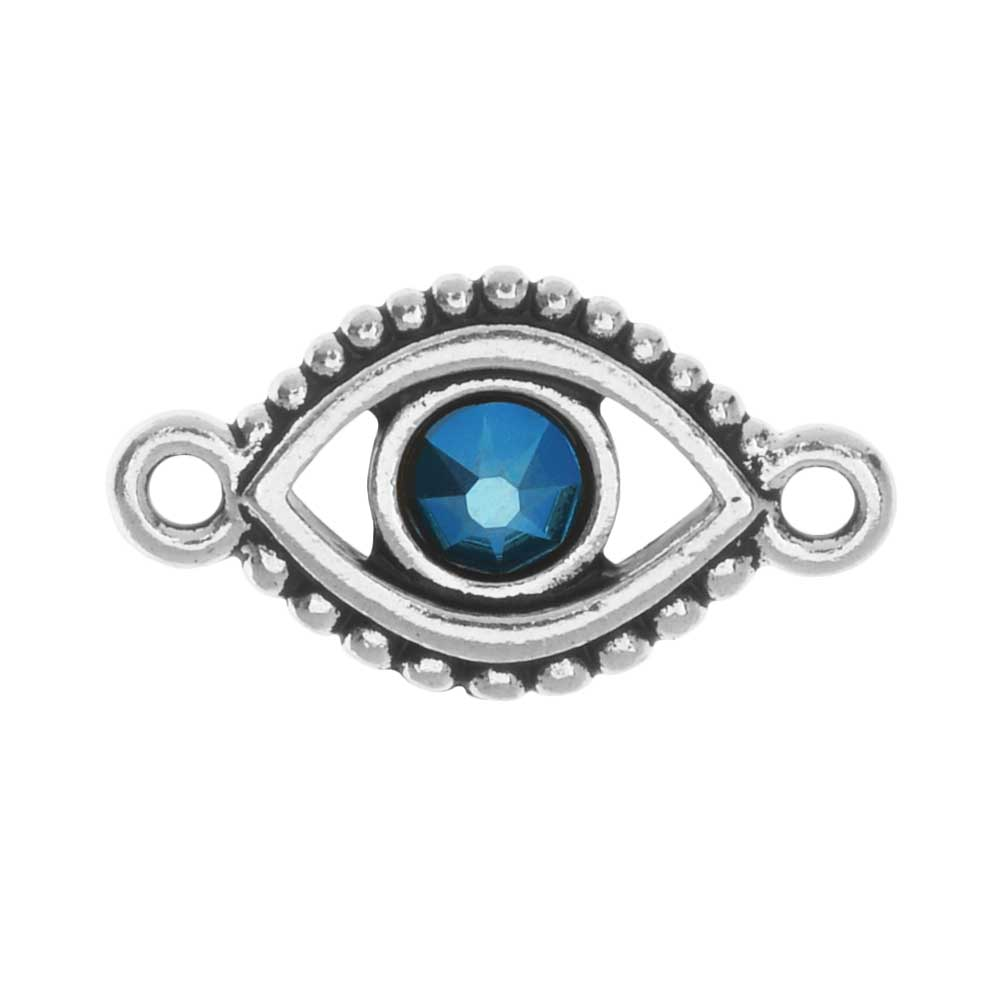 TierraCast Pewter Link, Evil Eye with Swarovski Crystal 21mmx12mm, 1 Piece, Silver Plated