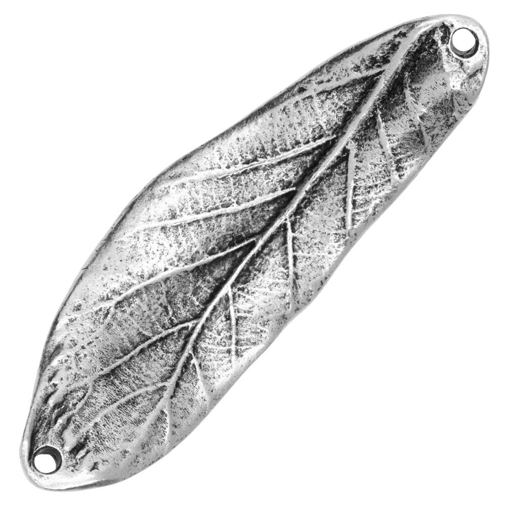 Nunn Design Connector Link, Curved Leaf 50mm, 1 Piece, Antiqued Silver