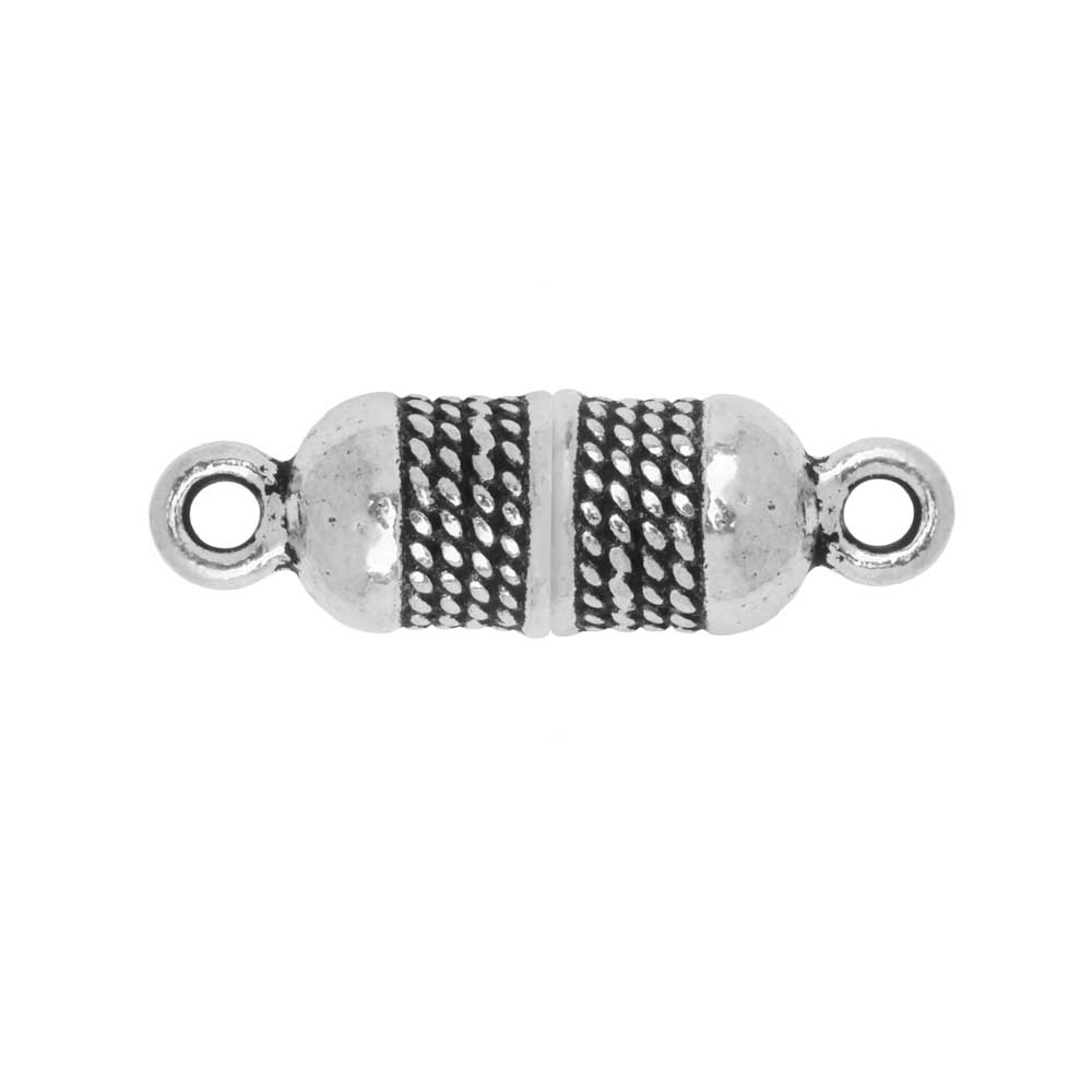 Magnetic Clasp, Roped Capsule 25x7.5mm, Antiqued Silver Plated, 1 Piece, By TierraCast