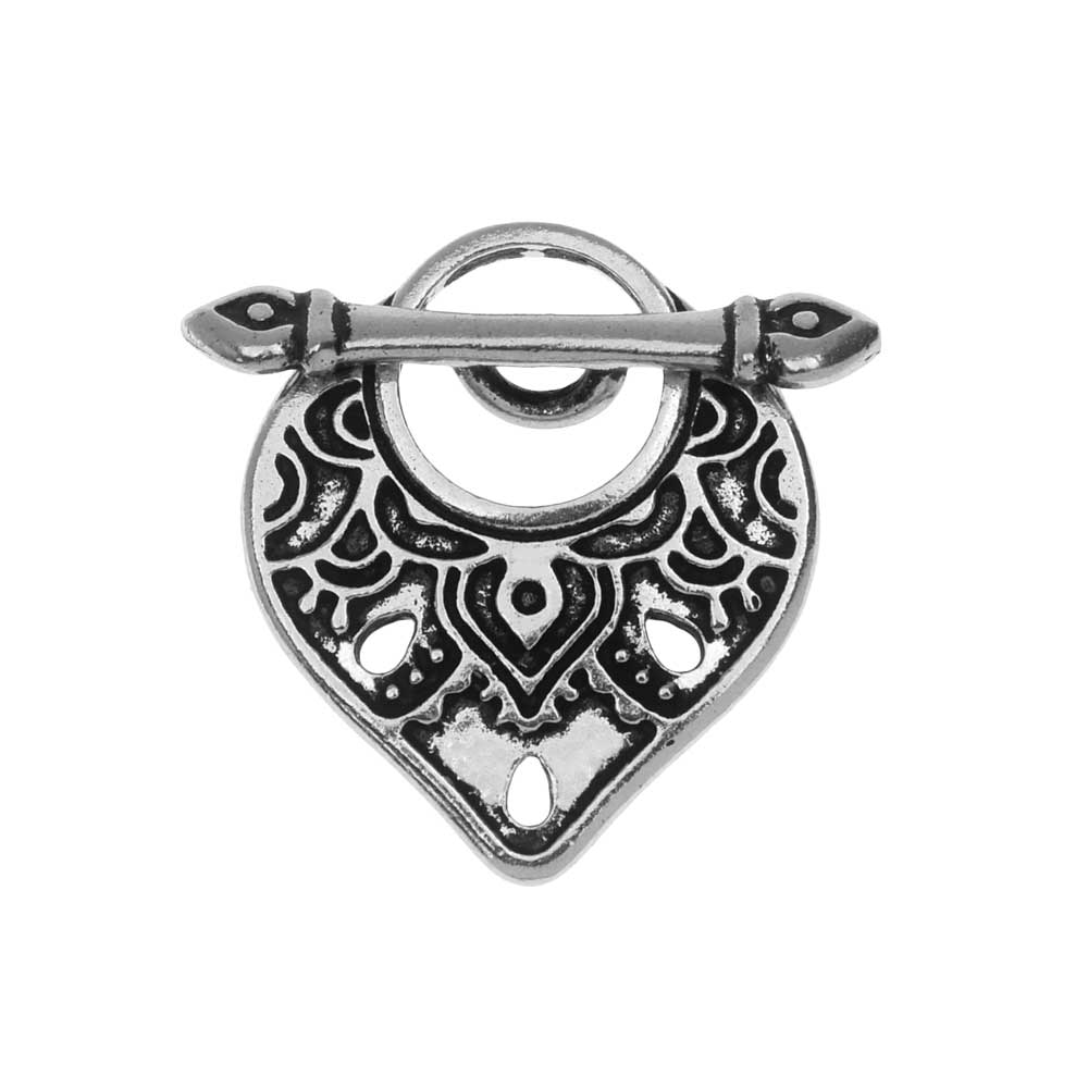 TierraCast Toggle Clasp, Temple 18.5x21mm, 1 Set, Antiqued Silver Plated