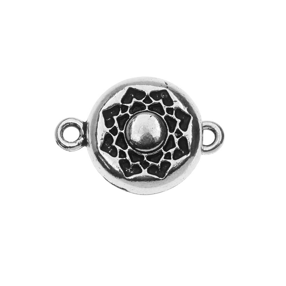 TierraCast Magnetic Clasp, Lotus 14.2x20.5mm, 1 Set, Antiqued Silver Plated