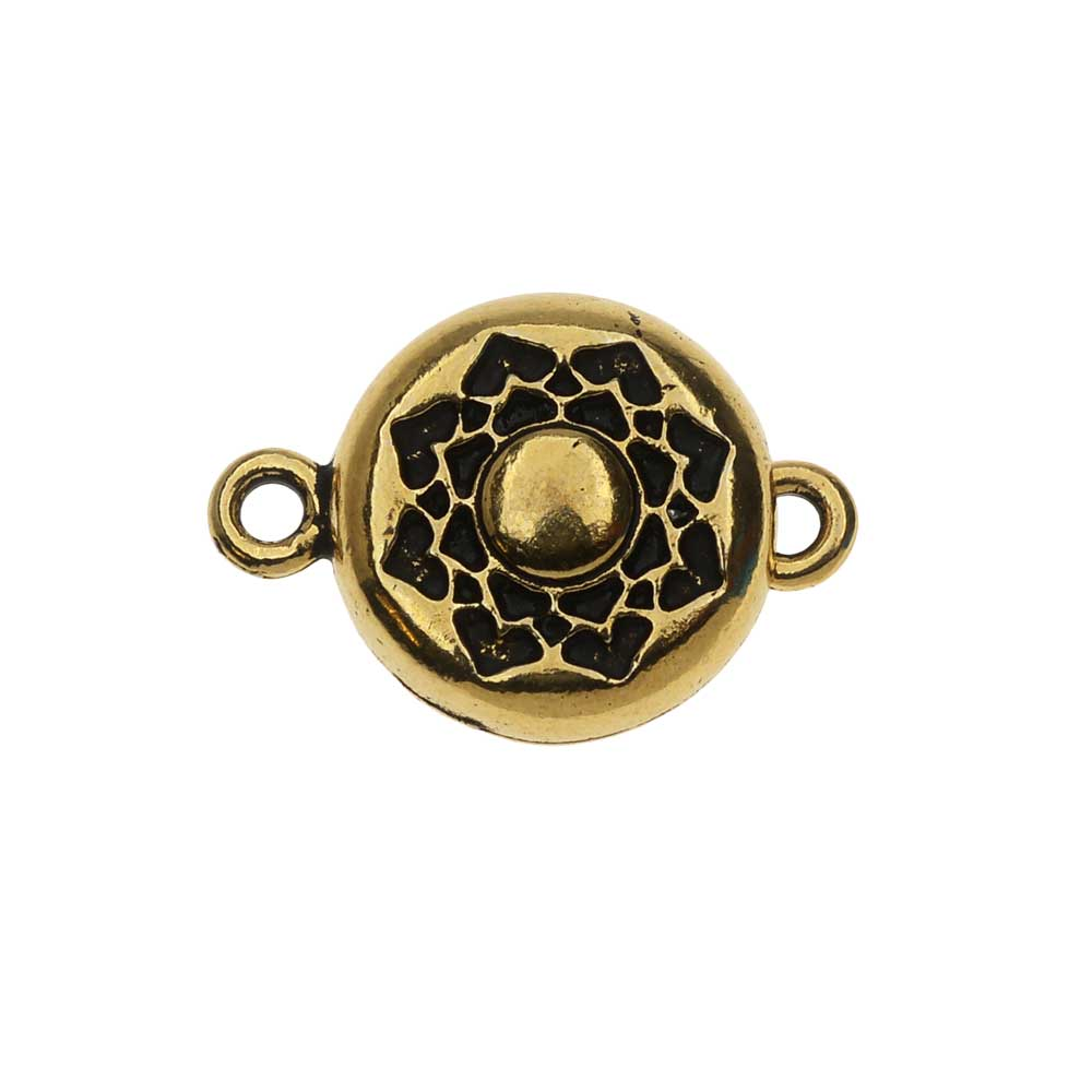 TierraCast Magnetic Clasp, Lotus 14.2x20.5mm, 1 Set, Antiqued Gold Plated