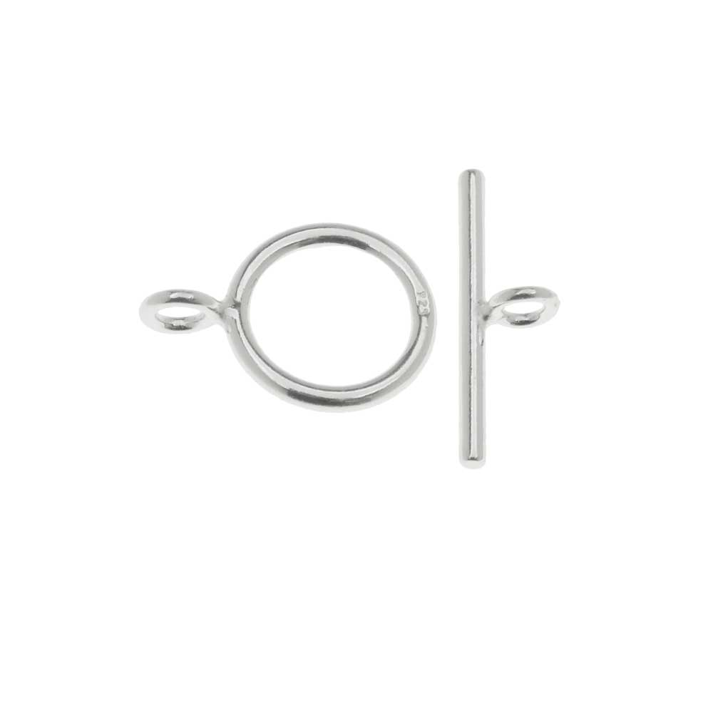 Toggle Clasp, Bar and Round Ring 12.5mm, 1 Set, Sterling Silver