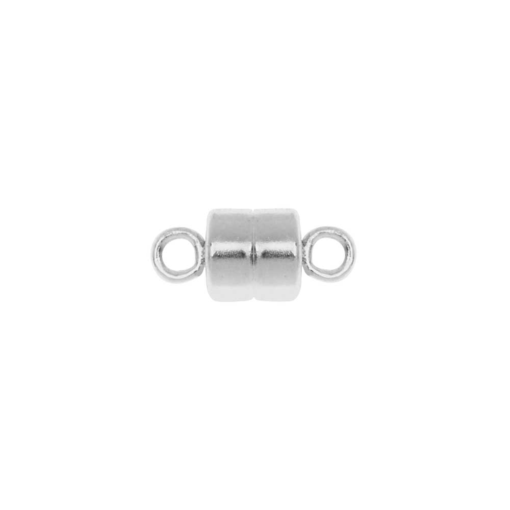 Magnetic Clasp, Round with Loops 10mm, 1 Set, Sterling Silver