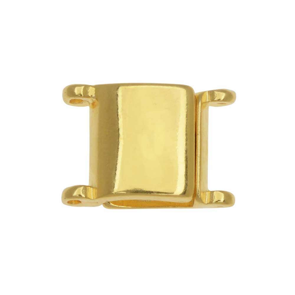 Cymbal Magnetic Clasp for 11/0 Delica & Round Beads, Axos, Square 13x9.5mm, 1 Piece, 24K Gold Plated