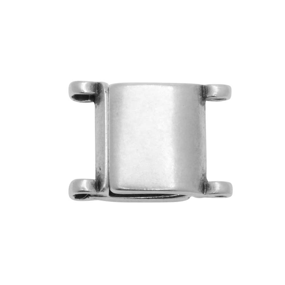 Cymbal Magnetic Clasp for 11/0 Delica & Round Beads, Axos, Square 13x9.5mm,  Antiqued Silver Plated
