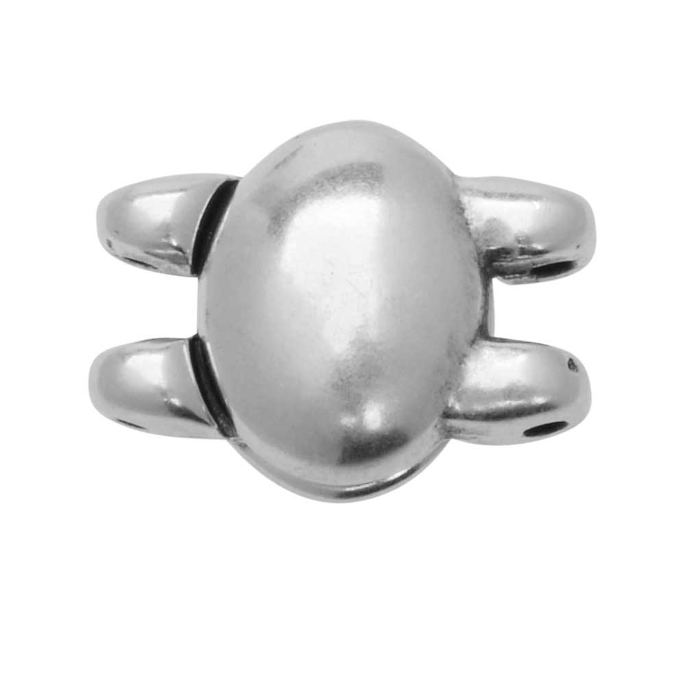 Cymbal Magnetic Clasp for SuperDuo Beads, Kypri, Oval 13x10mm, 1 Set, Antiqued Silver