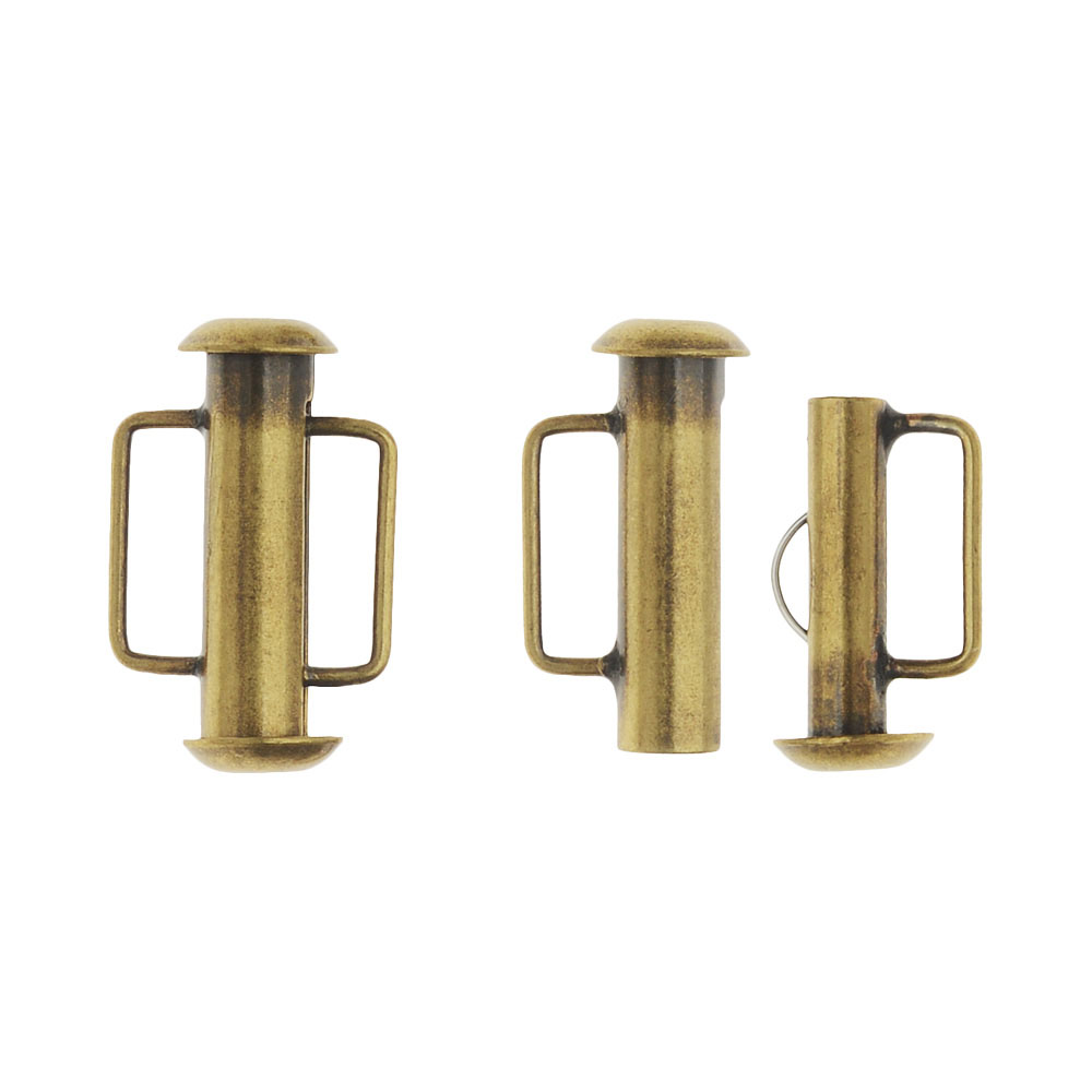 Slide Tube Clasps, with Bar Loops 16.5x10.5mm, 4 Sets, Antiqued Brass Plated