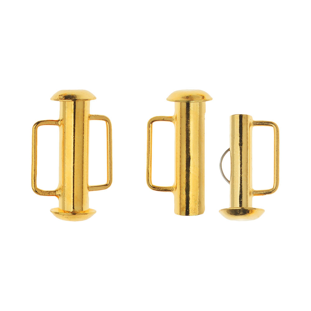Slide Tube Clasps, with Bar Loops 16.5x10.5mm, 4 Sets, 22K Gold Plated
