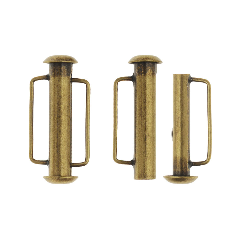 Slide Tube Clasps, with Bar Loops 21.5x10.5mm, 2 Sets, Antiqued Brass Plated