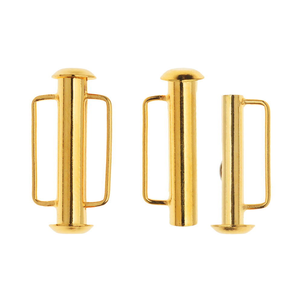 Slide Tube Clasps, with Bar Loops 21.5x10.5mm, 2 Sets, 22K Gold Plated