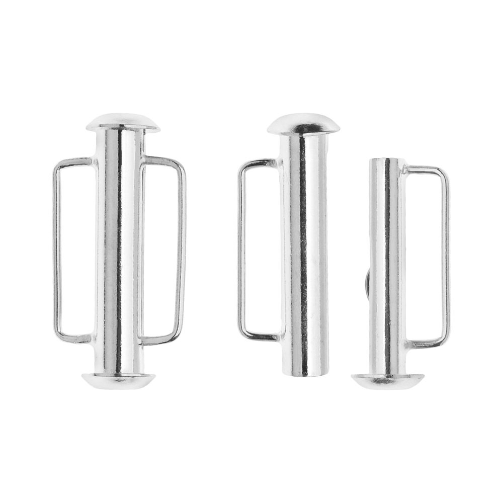 Slide Tube Clasps, with Bar Loops 21.5x10.5mm, 2 Sets, Silver Plated
