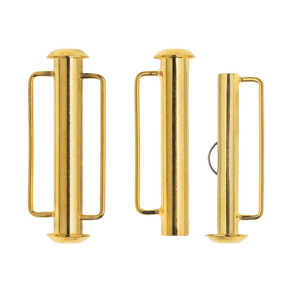 Slide Tube Clasps, with Bar Loops 26.5x10.5mm, 2 Sets, 22K Gold Plated