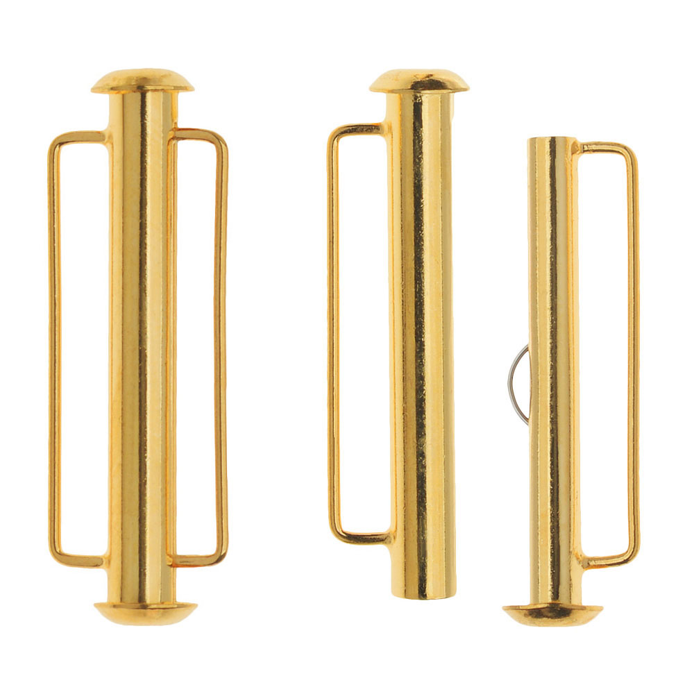 Slide Tube Clasps, with Bar Loops 31.5x10.5mm, 2 Sets, 22K Gold Plated